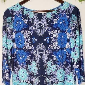 London Times Blue Floral Print Dress, Size 14